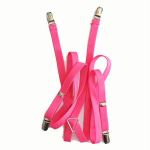 "Florescent Pink 1/2""x42"" Solid Suspenders 0901-0"
