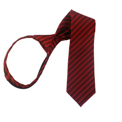 "14"" Red & Burgundy Stripe Boy's Zipper Tie 1001"