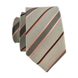 Gray Pink & Burgundy Stripe Men's Skinny Tie 1004