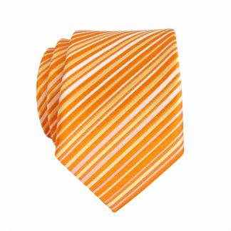 Tie Orange,Yellow Stripe Skinny Men's Tie 10342-0