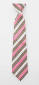 "11"" Boys Clip-On Taupe/White/Pink Stripe Tie 10422-0"
