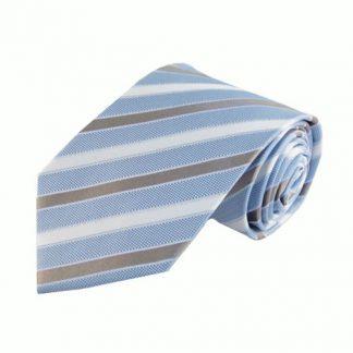Light Blue, White, Gray Stripe Men's Tie 5667-0