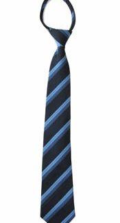 "21"" Men's Navy, Blue Stripe Zipper Tie 10899-0"