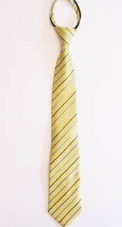 """14"""" Yellow & Blue Stripe Boy's Zipper Tie 5007"""