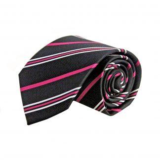 Black, Fuschia, White Stripe Men's Tie 11065-0