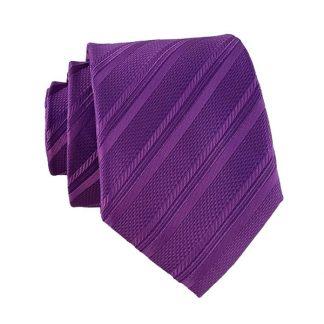 Purple Tone on Tone Stripe Men's Skinny Tie w/ Pocket Square 11327