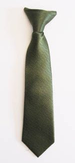 "11"" Boys Clip-On Olive Solid Tone on Tone Rectangles Tie 11371-0"