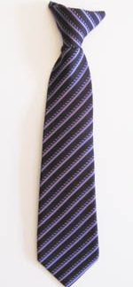 "11"" Boys Clip-On Purple/Dark Purple Stripe Tie 11375-0"