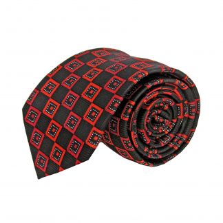 Red Black Square Men's Tie 1529-0