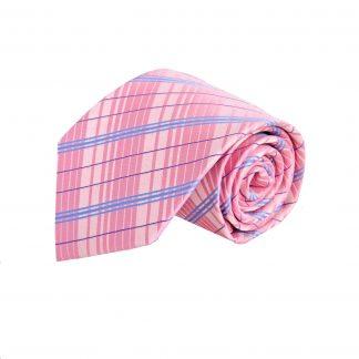 Pink/Blue Plaid Microfiber Men's Tie 1737-0