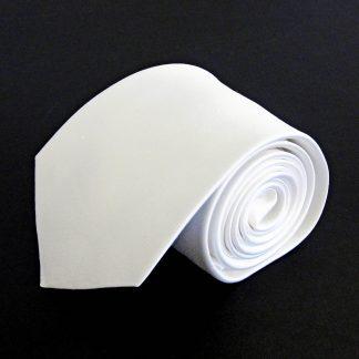 White Solid Silk Men's Tie 1743-0