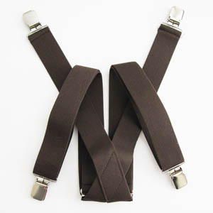 Brown Solid Suspenders 2042-0