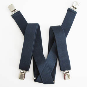 Navy Solid Suspenders 2044-0