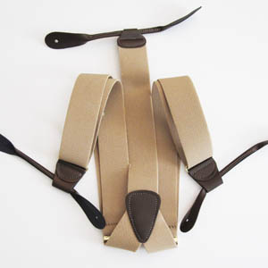 Khaki Solid Button Suspenders 2049-0