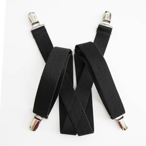 "Black Solid 1""x30"" Kids Suspenders 2080-0"