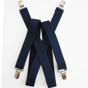 "Navy 1""x30"" Solid Kids Suspenders 2081-0"