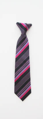 "11"" Boy's Clip-On Tie Black/Fuschia/Purple Stripes 2265-0"