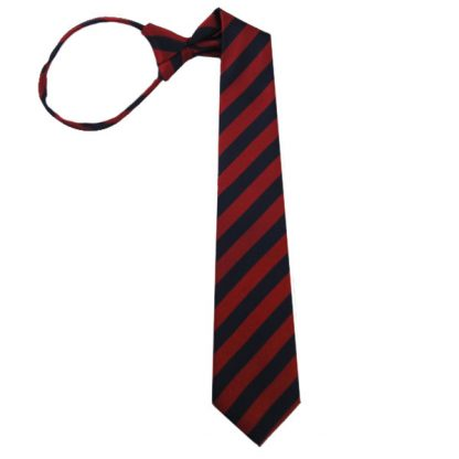 "17"" Boy's Zipper Red/Navy Stripe Microfiber Tie 2316"