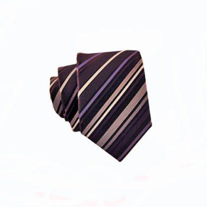 Purple, Black & Gray Stripe Skinny Men's Tie 2363-0