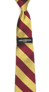 "17"" Boy's Zipper Burgundy/Gold Stripe Microfiber Tie 2844-0"