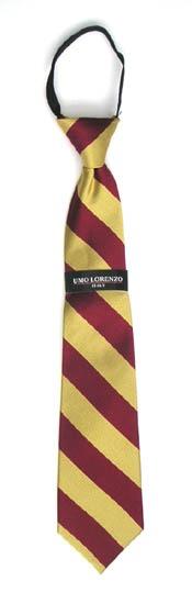"17"" Boy's Zipper Burgundy/Gold Stripe Microfiber Tie 2844-0"