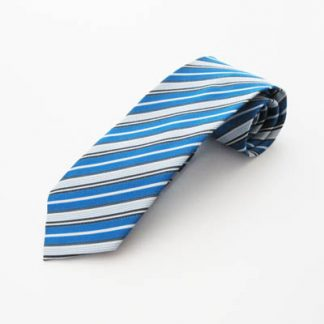 Royal Blue, White, Gray Stripe Men's Tie 3434-0