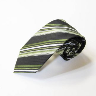Green, Olive, Black Stripe Men's Tie 3550-0