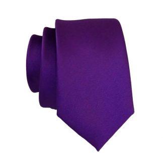 Purple Solid Men's Skinny Tie w/ Pocket Square 3672