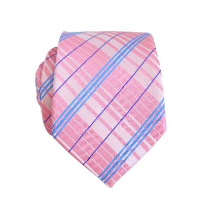 Pink/Blue Plaid Skinny Men's Tie 3807-0