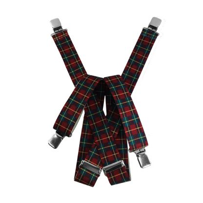 Red Green & Yellow Plaid Suspenders 3886