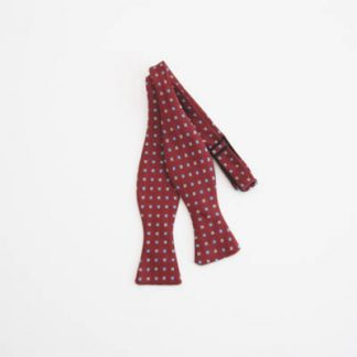 Burgundy Black/Gray Squares Self Tie Bow Tie 3961-0