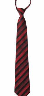 "21"" Men's Burgundy, Red, Black Stripe Zipper Tie 3990-0"