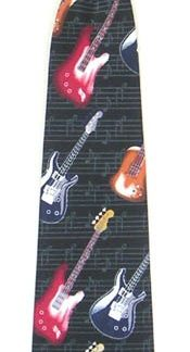 "11"" Boy's Clip-on Electric Guitar Microfiber Tie 4694-0"