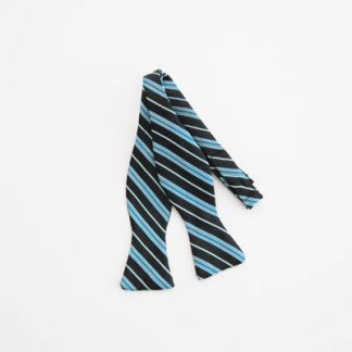 Black/Teal Stripe Self Tie Bow Tie 5135-0