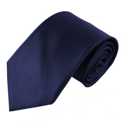 Navy Solid Men's Tie w/ Pocket Square 5215