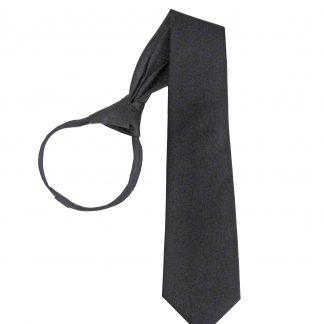 "21"" Men's Black Solid Zipper Tie 5223-0"