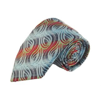 Aqua, Red, Lime Swirl Men's Tie 5362