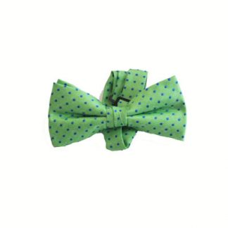 "Green w/Blue Dots 2"" Band Bow Tie 5450-0"