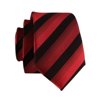 Red Burgundy & Black Stripe Men's Skinny Tie 5681