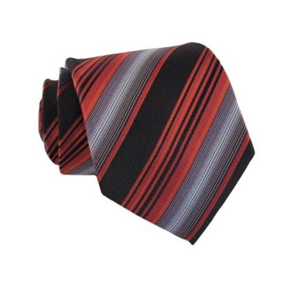 Narrow Red Black & Gray Stripes Men's Tie 6545