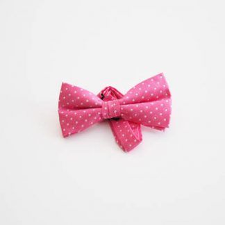 "Pink w/White Dots 2"" Band Bow Tie 6647-0"