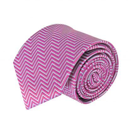 Fuschia, Gray Zig Zag Stripe Men's Tie 7966-0