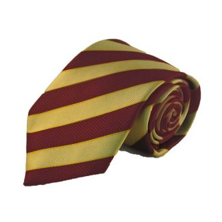 Burgundy and Gold Stripe Men's Tie