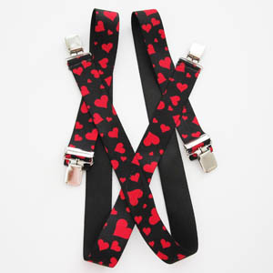 Red on Black Heart Suspenders 8861-0