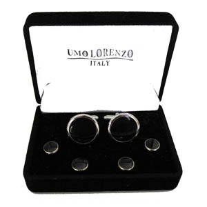 Cufff Link and Stud Sets Silver/Black 9085-0