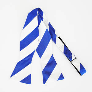 Blue/White Wide Self Tie Bow Tie 9262-0