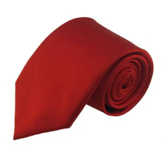 Red Solid Silk Men's Tie 9836