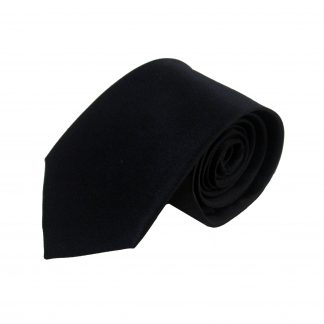Black Solid Silk Men's Tie 9628