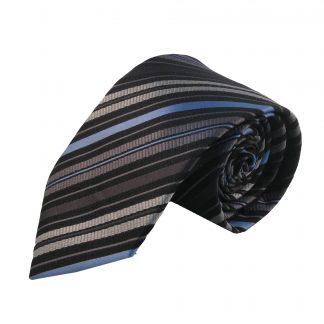 Grey, Light Blue & Black Stripe Men's Tie 1819