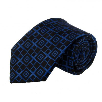 Royal Blue & Black Diamond Men's Tie 10516